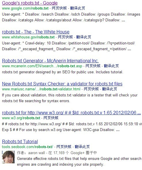 关于inurl:robots.txt的使用说明